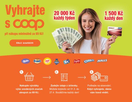 soutěž Coop hotovost peníze tankovací karty